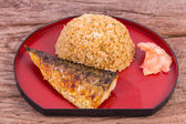 Grilled fish saba with fried rice — Stock Photo