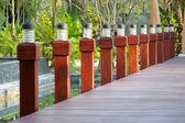 Light pole on wooden bridge — Foto de Stock