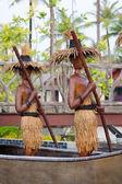 Wooden tribal models oar the boat — Stock Photo