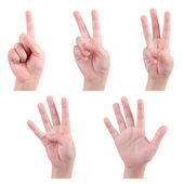 Isolated children hands show the number one two three four five — Stock Photo