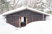 Snow covered log cabin — Stock Photo