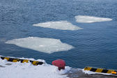 Breaking spring ice floe of japanese sea — Stockfoto