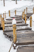 Winter in the Japan, staircase swept snow — Stock Photo