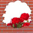 Brick hole with red roses and space for your text — Stock Photo #45741189