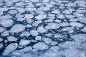 Fondo de naturaleza de invierno con bloques de hielo congelado en mar azul — Foto de Stock