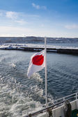 Flag of Japan, in the winter over the sea — Stock Photo