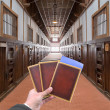 Hand with old document in the old wooden abandon prison — Stock Photo #46112501