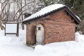 Casita de ladrillo durante el invierno — Foto de Stock