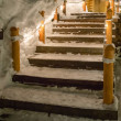 Wooden stair lighting in christmas with snow covered — Stock Photo #47155339