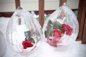 A frozen rose inside ice with vignette — Stock Photo