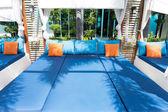 Zewnątrz poduszki dekoracyjne tkaniny naturalne — Zdjęcie stockowe