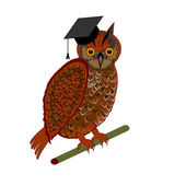 An owl wearing a graduation cap — Stock Vector
