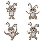 A funny hare doing morning exercises — Stock Vector