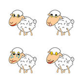 A funny sheep expressing different emotions — Stock Vector