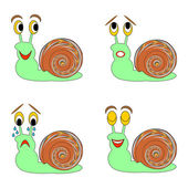 A funny snail expressing different emotions — Stock Vector