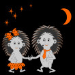 Stock Vector: Couple of funny cartoon hedgehogs dating in night