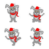 Funny christmas hares on a white background — Stock Vector