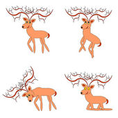 Funny deers on a white background — Stock Vector