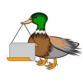 A duck holding a big blank paper in his beak — Stock Vector