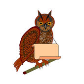 An owl holding a big blank paper in his beak — Stock Vector