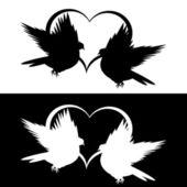 Silhouette monochrome de vol de deux colombes et un coeur — Vecteur