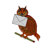 A funny owl with a letter in his beak — Stock Vector