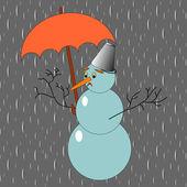 A sad snowman with umbrella in the rain — Stock Vector