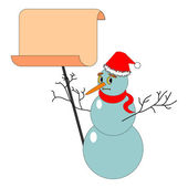 A Christmas snowman with a big blank paper — Stock Vector