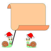 Two funny Christmas cartoon snails with a big blank paper — Stock Vector