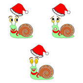 Funny Christmas snails with different facial expressions — Vector de stock