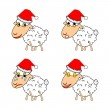 A funny Christmas sheep expressing different emotions — Stock Vector