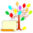 A tree with many colorful balloons and a big blank paper for con — Stock Vector