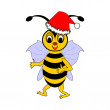 A funny Christmas cartoon bee — Stock Vector