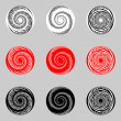 Design set of abstract spiral elements — Stock Vector