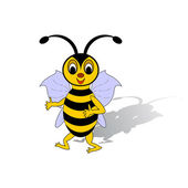 A funny cartoon bee isolated on a white background — Stock Vector