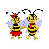 A couple of funny cartoon bees — Stock Vector