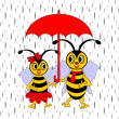 A couple of funny cartoon bees under red umbrella in the rain — Stock Vector