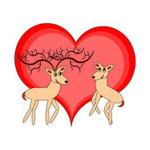 A couple of funny cartoon deer with a red heart — Stock Vector
