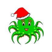 A funny Christmas octopus isolated on a white background — Stock Vector