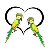A couple of macaw parrots with a heart — Stock Vector