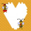 A couple of two funny cartoon bees with a heart surrounded by ho — Stock Vector