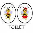 Man and woman restroom signs. Funny cartoon bees — Stock Vector