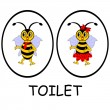 Stock Vector: Man and woman restroom signs. Funny cartoon bees