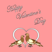 Two doves with a heart. Design Valentine's day background — Stock Vector