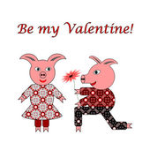 Love between two funny pigs. Valentine's day postcard with words — Stock Vector
