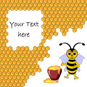 A cute cartoon bee with a honey pot surrounded by honeycombs — Stockvector