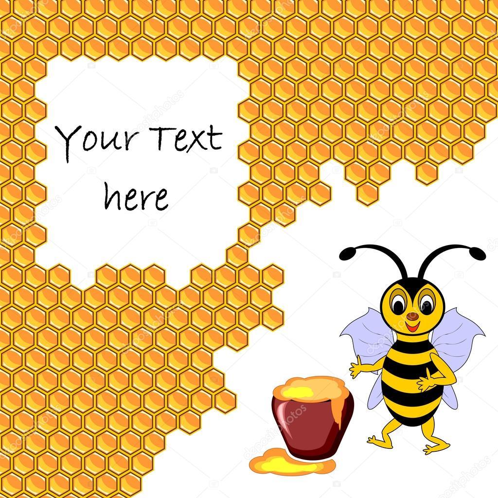 Une abeille dessin anim mignon avec un pot de miel - Dessin de ruche d abeille ...