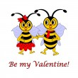 "Two funny cartoon bees with words ""Be my Valentine"" — Stock Vector"