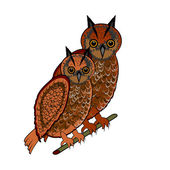 A couple of two owls — Stock Vector