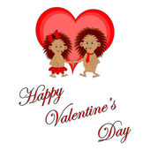 """Funny boy and girl with words """"Happy Valentine's Day"""" — Stock Vector"""